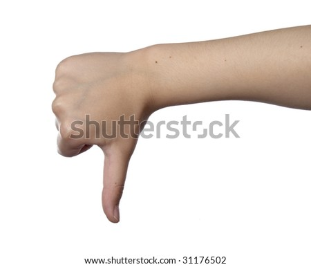 close up of hand gesturing, on white background with clipping path - stock photo