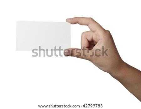 close up of hand holding blank note paper, on white background with clipping path