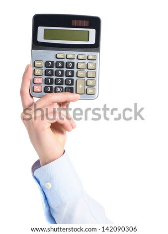 Close-up Of Hand Holding Calculator Over White Background - stock photo