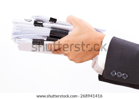 close up of hand holding file on white background - stock photo