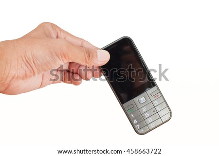 Close up of hand holding phone on white background isolated