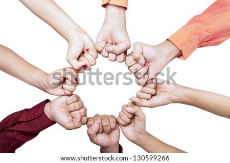 Close-up of hands gesture unity on white background