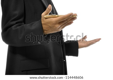 Close up of hands gesturing while holding pen and torso of man with business suit. Isolated over white background - stock photo