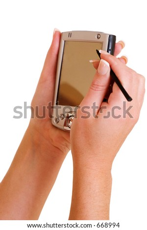 close-up of hands of business woman holding a PDA