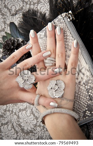Close up of hands with accessory - stock photo