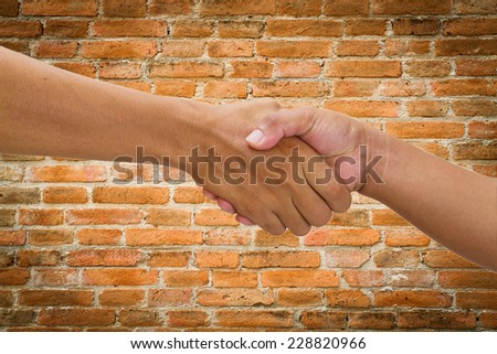 close up of handshake and teamwork isolate on wall background  - stock photo
