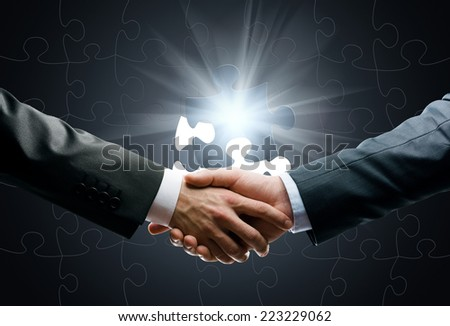 Close up of handshake of business people against world connection background. Concept of trustworthy relations and business cooperation - stock photo