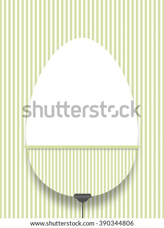 Close-up of hanged blank decorated Easter egg with peg against green striped wallpaper background