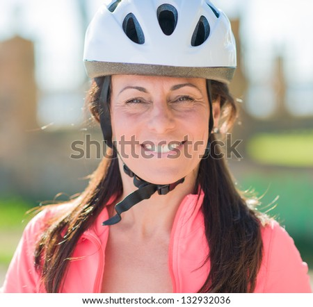 Close-up Of Happy Cyclist Woman, Outdoors