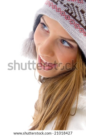 close up of happy female on an isolated white background - stock photo