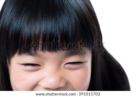 Close-up of happy smiling girl. - stock photo