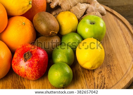 Close up of heap of fruit. Concept of healthy eating and dieting lifestyle