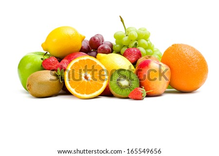 Close up of heap of fruit, isolated on white background. Concept of healthy eating and dieting lifestyle - stock photo