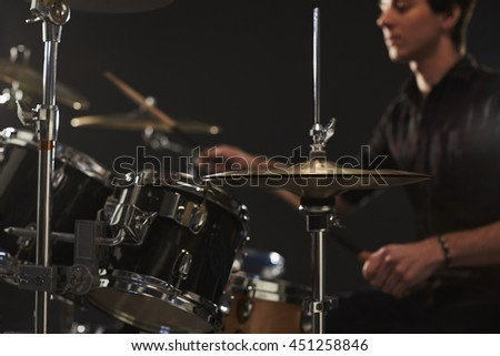 Close Up Of High Hat Cymbals On Drummer's Drum Kit - stock photo