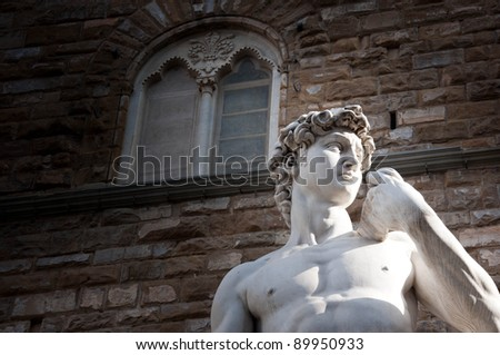 Close up of high part the great Palace at center of Florence, Italy - stock photo
