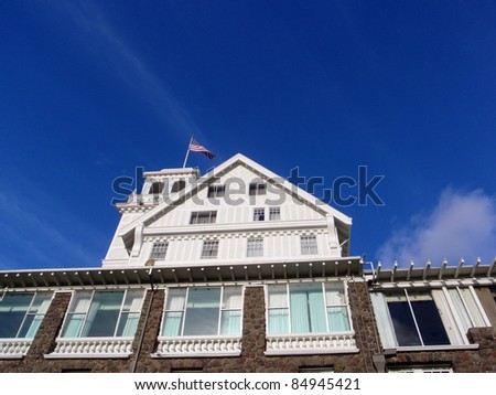 Close-up of Historic Claremont Hotel at the foot of Claremont Canyon in the Berkeley Hills in Berkeley and Oakland, California. The hotel opened in 1915. - stock photo