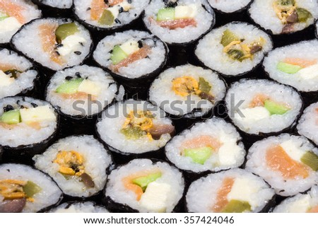 Close up of home made sushi rolls  - stock photo