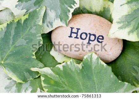 close up of 'hope' stone on ivy leaf background