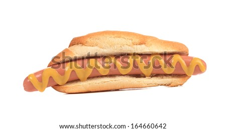 Close up of hotdog with mustard. Isolated on a white background.