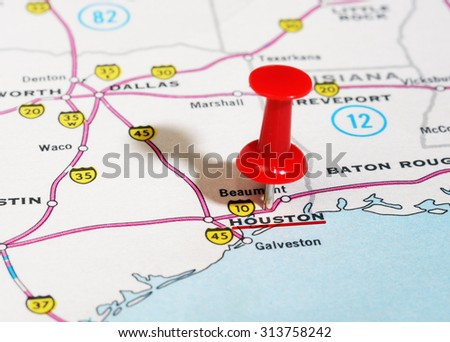Close up of  Houston  USA map with red pin - Travel concept - stock photo