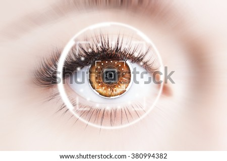 Close up of human eye with virtual graphic background - stock photo