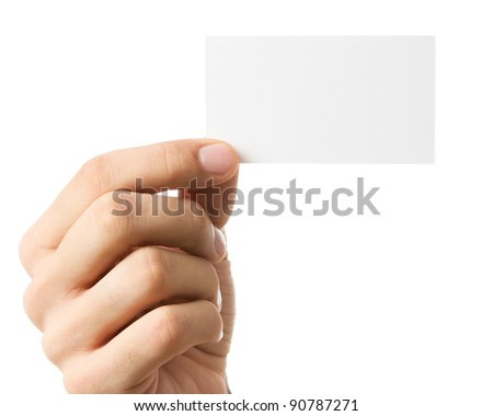 Close up of human hand holding business card isolated