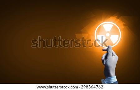 Close up of human hand pushing application icon - stock photo