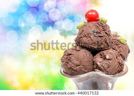 Close up of ice cream delicious dessert - stock photo