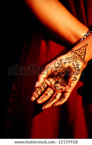 close up of indian henna hand painting - stock photo