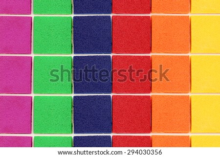 close up of ink pad set, texture background - stock photo