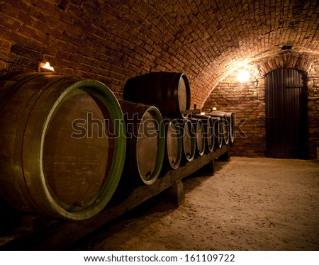 Close-up of interior in a wine cellar - stock photo