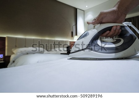 close up of ironing tool at luxury hotel room
