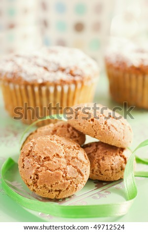 Close Up Of Italian Amaretti Cookies and Muffins - stock photo