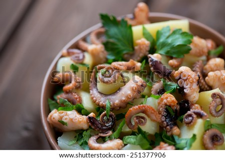 Close-up of italian octopus salad with potato and fresh parsley - stock photo