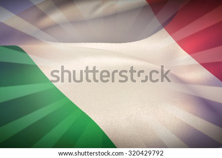 Close-up of Italy flag waving against linear design - stock photo