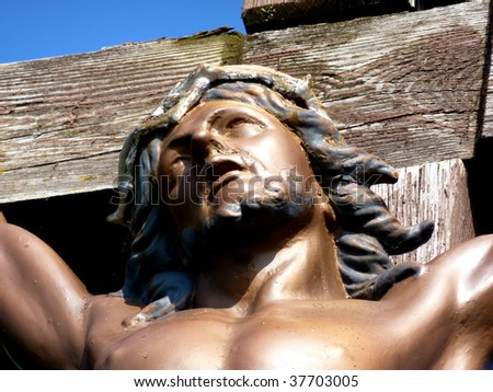 Close up of Jesus' face on the cross