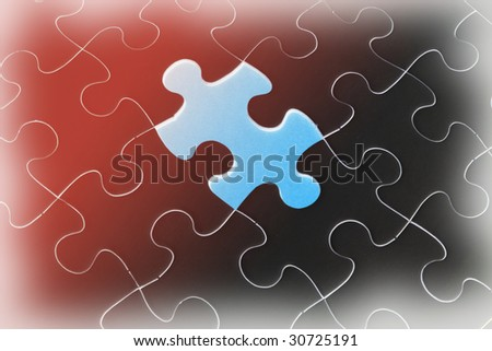 Close Up of Jigsaw Puzzle on Gradual Background