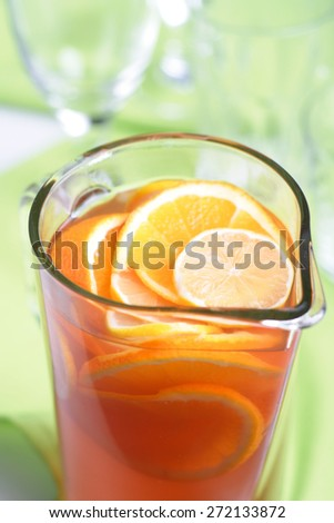 Close up of jug with orange juice - stock photo