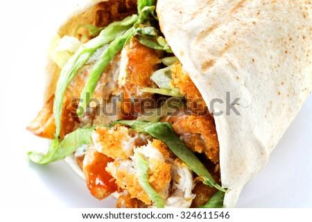 Close up of kebab sandwich. Still life with turkish doner kebab and shawarma.  - stock photo