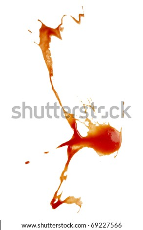 close up of  ketchup stains on white background  with clipping path - stock photo