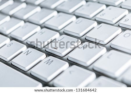 Close up of keyboard of a modern laptop - stock photo