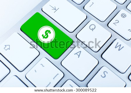 Close up of keyboard with dollar sign