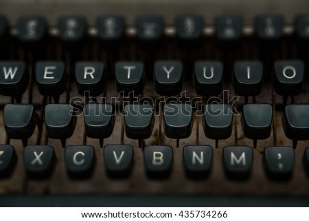 close up of keys of vintage typewriter with blank key for write your text.
