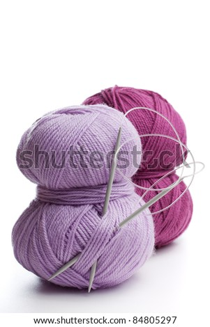 Close up of Knitting needles and yarn - stock photo