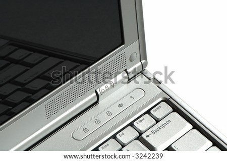 Close up of laptop computer over white background