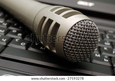 close-up of laptop keyboard and mic