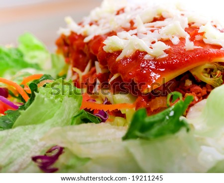 Close up of Lasagna with salad - vivid colors - stock photo