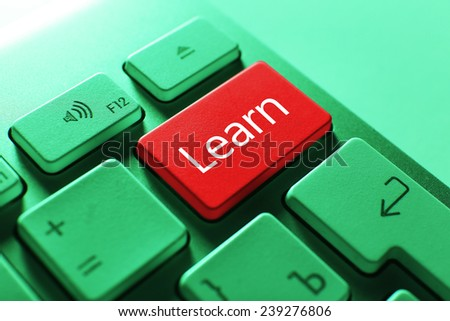 Close up of LEARN keyboard button - stock photo