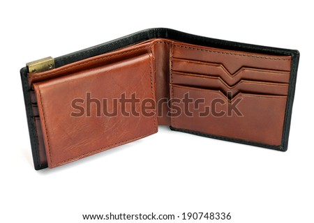 Close-up of leather wallet isolated on white background, selective focus.