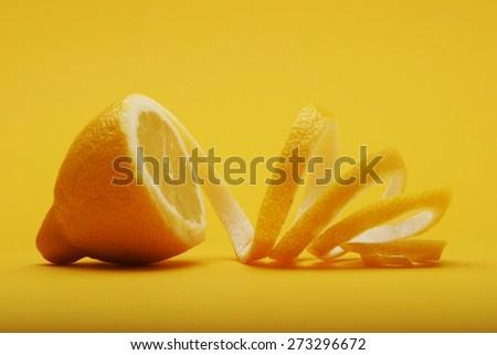 Close up of lemon on white background - stock photo